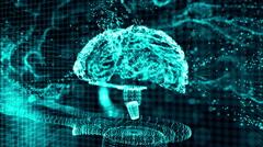 Brain hologram blue - stock footage