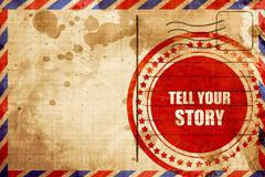 Tell your story, red grunge stamp on an airmail background Stock Illustration