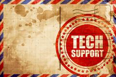 Tech support, red grunge stamp on an airmail background Stock Illustration