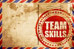 team skills, red grunge stamp on an airmail background - stock illustration
