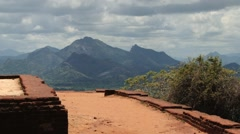 Ruins of the palace at the ancient Sigiriya rock fortress, Sri Lanka. Stock Footage