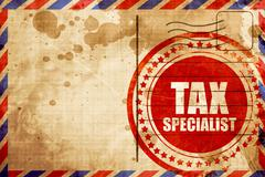 tax specialist, red grunge stamp on an airmail background - stock illustration