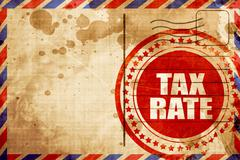 Tax rate, red grunge stamp on an airmail background Stock Illustration