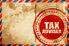 Tax adviser, red grunge stamp on an airmail background Stock Illustration