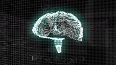 Brain hologram glowing - stock footage