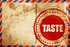 taste, red grunge stamp on an airmail background - stock illustration