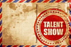talent show, red grunge stamp on an airmail background - stock illustration