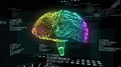Brain hologram colorful Stock Footage