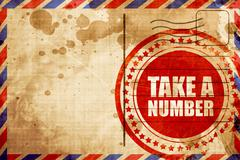 Take a number, red grunge stamp on an airmail background Stock Illustration