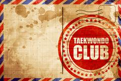 taekwondo club, red grunge stamp on an airmail background - stock illustration