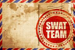 swat team, red grunge stamp on an airmail background - stock illustration