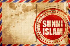 Sunni islam, red grunge stamp on an airmail background - stock illustration