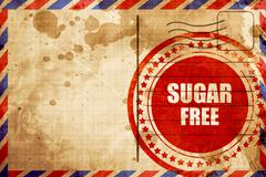 Sugar free sign, red grunge stamp on an airmail background Stock Illustration
