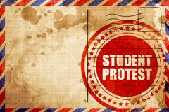 student protest, red grunge stamp on an airmail background - stock illustration