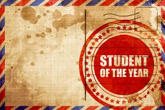 student of the year, red grunge stamp on an airmail background - stock illustration