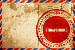 strawberries, red grunge stamp on an airmail background - stock illustration