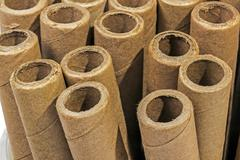 Verticaly Stacked  Collection of Cardboard Packaging Tubes - stock photo
