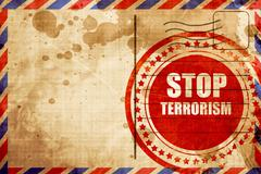 stop terrorism, red grunge stamp on an airmail background - stock illustration