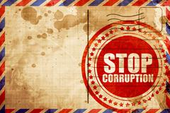 Stop corruption, red grunge stamp on an airmail background Stock Illustration