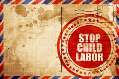 stop child labor, red grunge stamp on an airmail background - stock illustration