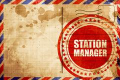 Station manager, red grunge stamp on an airmail background Stock Illustration