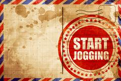 start jogging, red grunge stamp on an airmail background - stock illustration