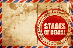 Stages of denial, red grunge stamp on an airmail background Stock Illustration