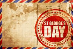 st georges day, red grunge stamp on an airmail background - stock illustration