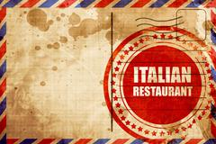Delicious italian cuisine, red grunge stamp on an airmail backgr Stock Illustration