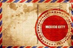 Mexico city, red grunge stamp on an airmail background Piirros