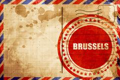 Brussels, red grunge stamp on an airmail background Stock Illustration