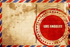 Los angeles, red grunge stamp on an airmail background Stock Illustration
