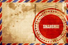 Shanghai, red grunge stamp on an airmail background Stock Illustration