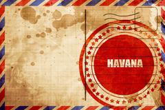 havana, red grunge stamp on an airmail background - stock illustration