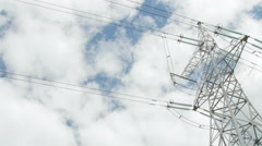 High voltage towers with sky background Stock Footage