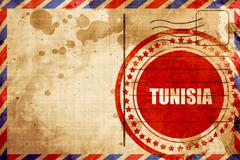 Greetings from tunisia, red grunge stamp on an airmail backgroun - stock illustration