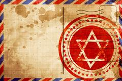 Star of david, red grunge stamp on an airmail background Stock Illustration