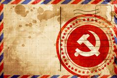 Communist sign with red and yellow colors, red grunge stamp on a - stock illustration