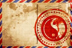 Ying yang symbol, red grunge stamp on an airmail background Stock Illustration