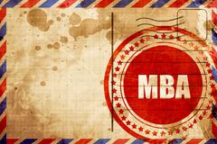 mba, red grunge stamp on an airmail background - stock illustration