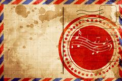Music note background, red grunge stamp on an airmail background Stock Illustration