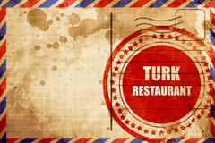 Delicious turkish cuisine, red grunge stamp on an airmail backgr - stock illustration