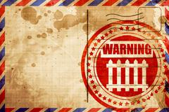 Railway warning sign, red grunge stamp on an airmail background - stock illustration