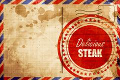 Delicious steak sign, red grunge stamp on an airmail background - stock illustration