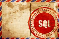 sql, red grunge stamp on an airmail background - stock illustration