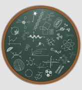 Illustration of science graphic on round chalkboard Stock Illustration