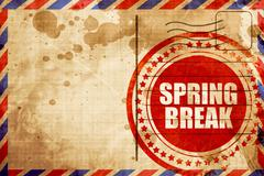 spring break, red grunge stamp on an airmail background - stock illustration