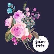 Vector roses vintage floral greeting card - stock illustration