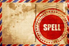 spell, red grunge stamp on an airmail background - stock illustration