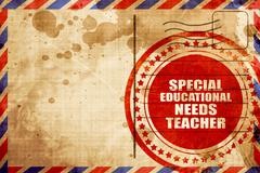 special educational needs teacher, red grunge stamp on an airmai - stock illustration